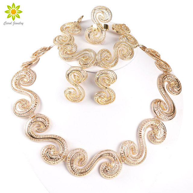 African Jewellery Sets  Gold Color Hollow Out Necklace And Earrings Sets Classic Bridal Jewelry Sets