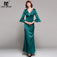 New Arrival 2018 Women's  Sexy Low V Neck 3/4 Flare Sleeves Elegant Party Prom Long Runway Dresses