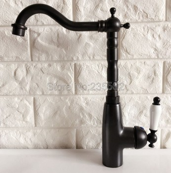 basin faucets black oil brass bathroom sink faucet 360 degree swivel dual handle kitchen washbasin mixer taps knf348 Black Oil Rubbed Kitchen Sink Faucet Brass Finish Swivel Spout Washbasin Faucets Cold and Hot Water Mixer Taps lnf370