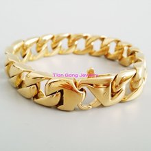 Cool Mens Bling 15mm 316L Stainless Steel Curb Cuban Bracelet Jewelry Best Selling High Quality Gold Tone Bangle Jewelry