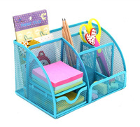 Office Supplies Mesh Desk Organizer Desktop Pencil Holder Accessories Caddy With Drawer, 7 Compartments, Blue