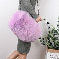 Winter Women Solid Soft Real Fur Handbags Party Bags Fox Hair Handbag Fashion Hand Warmer Bag
