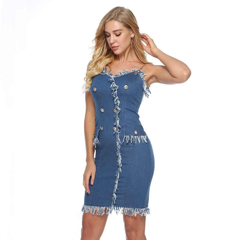Женский сексуальный Джинсовый сарафан с v-образным вырезом и открытыми плечами, летнее Короткое мини платье, повседневное тонкое облегающее платье-футляр, джинсовое платье