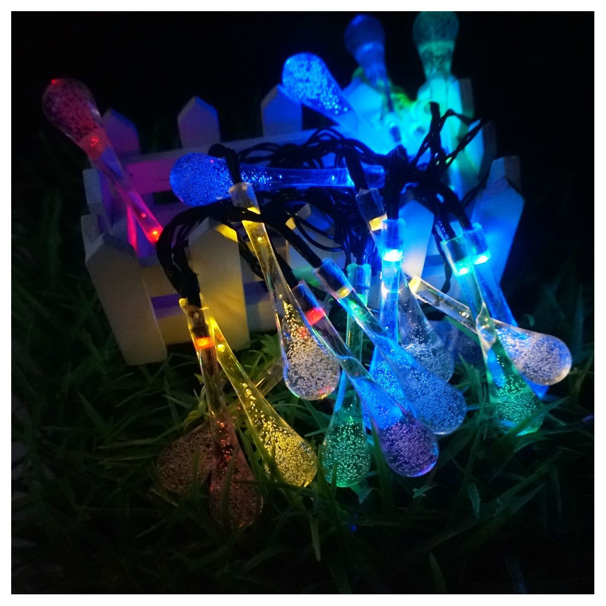 Long Droplets Solar LED String Lights with Garden Solar Panel, for Garden, Patio, Christmas Tree, Parties and All Outdoor and In