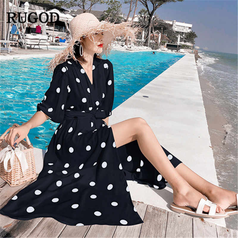 RUGOD エレガントなビーチドレスの女性のファッションドットプリント V ネックスプリットロングドレスカジュアルホリデー自由奔放に生きる付き夏ドレス