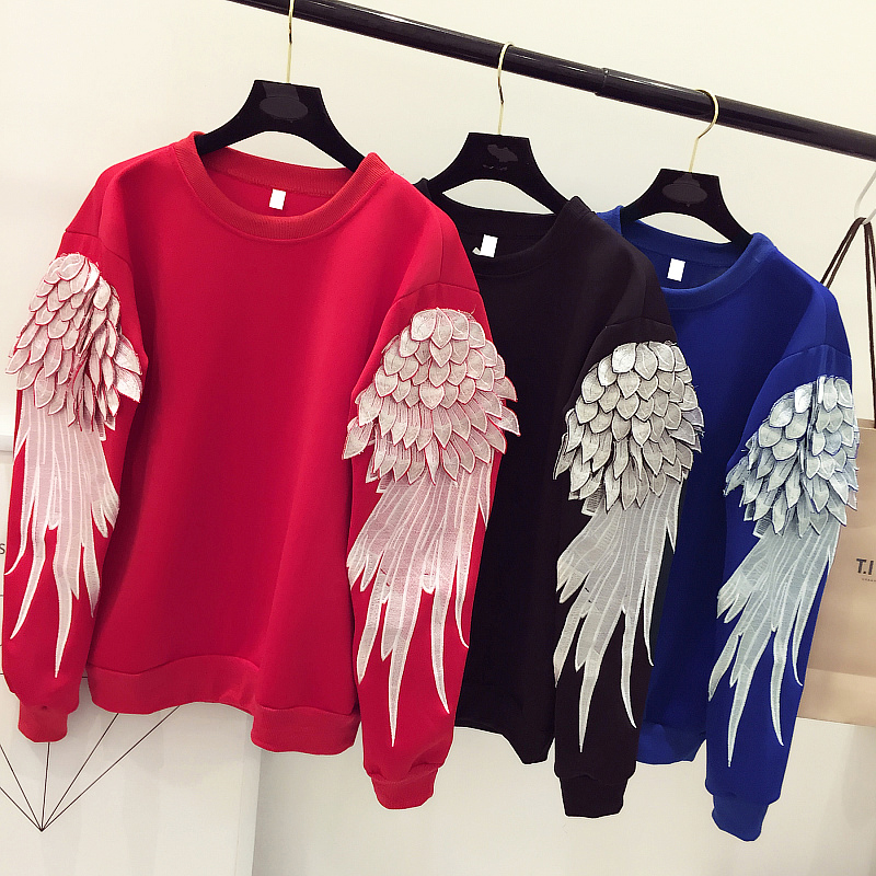OTH001 USA wind heavy feather wings embroidered long sleeved turtleneck loose woman pullovers women hoodies shirts