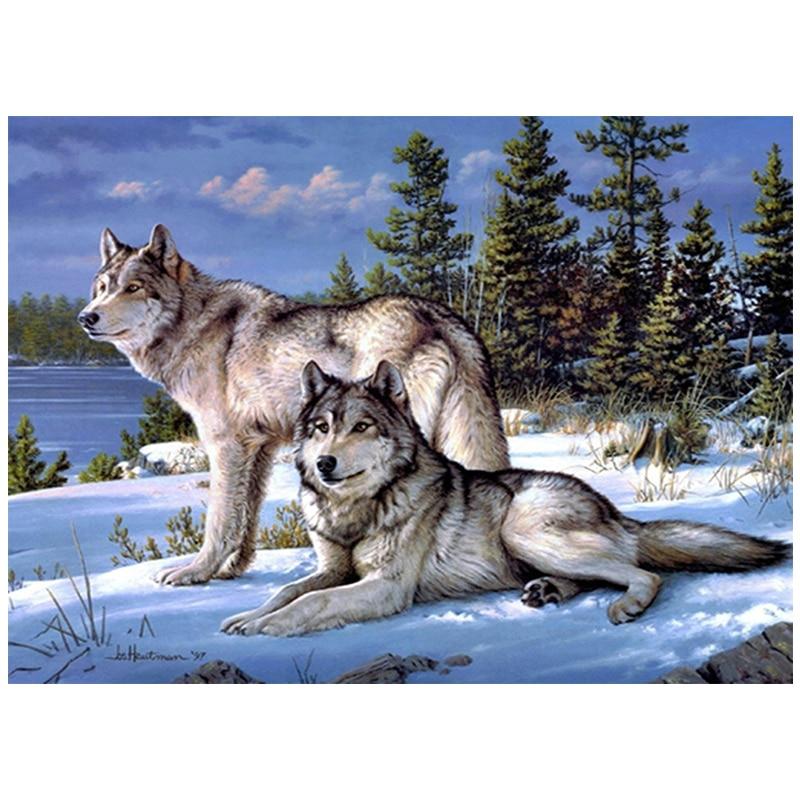 หมาป่าเต็มเพชรจิตรกรรมปักครอสติเพชรชุดโมเสคเพชรเย็บปักถักร้อย Diy เย็บปักถักร้อยของขวัญคริสต์มาสบ้านภาพวาด