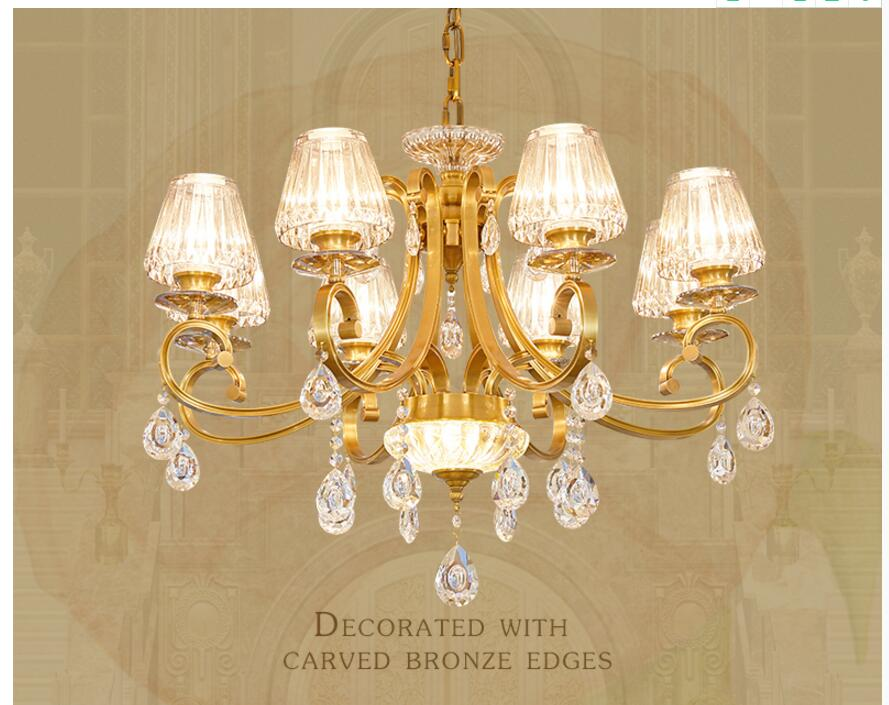 Free Shipping European Brass Copper Crystal Chandelier Lingting Luxurious E14 AC Brass Crystal Lamp Lustre Suspension Lighting