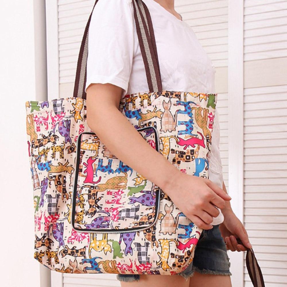 Retail Women Handbags Large Capacity Foldable Shopping Bag Travel Tote Reusable Shopping Bag Foldable Grocery Bags tote bag