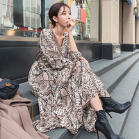 2019 Spring Vintage Ankle length Snake Women Dress Long Sleeve Print V neck High Waist Dresses Woman