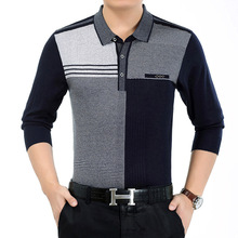 2017 New Spring And Autumn Men Sweater Large Size Middle And Old Lapel Casual Long Sleeves POIO Loose And Comfortable MK630