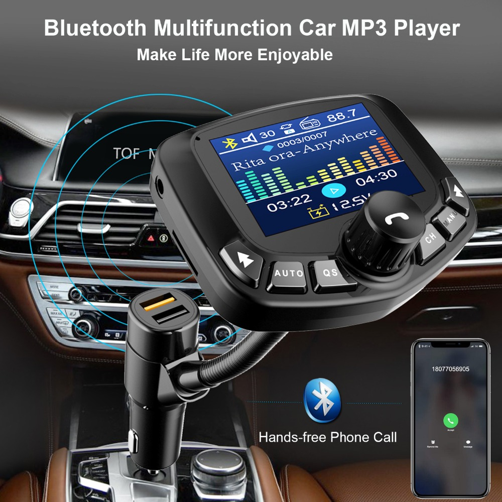 2019 Bluetooth MP3 Player FM Transmitter Modulator Vehicle 3 USB Port AUX Port QC3.0 TF Card With 1.8 Inch Screen
