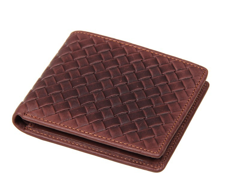8077C JMD Excellent Genuine Leather Bifold Men Brown Short Wallet Card Holder