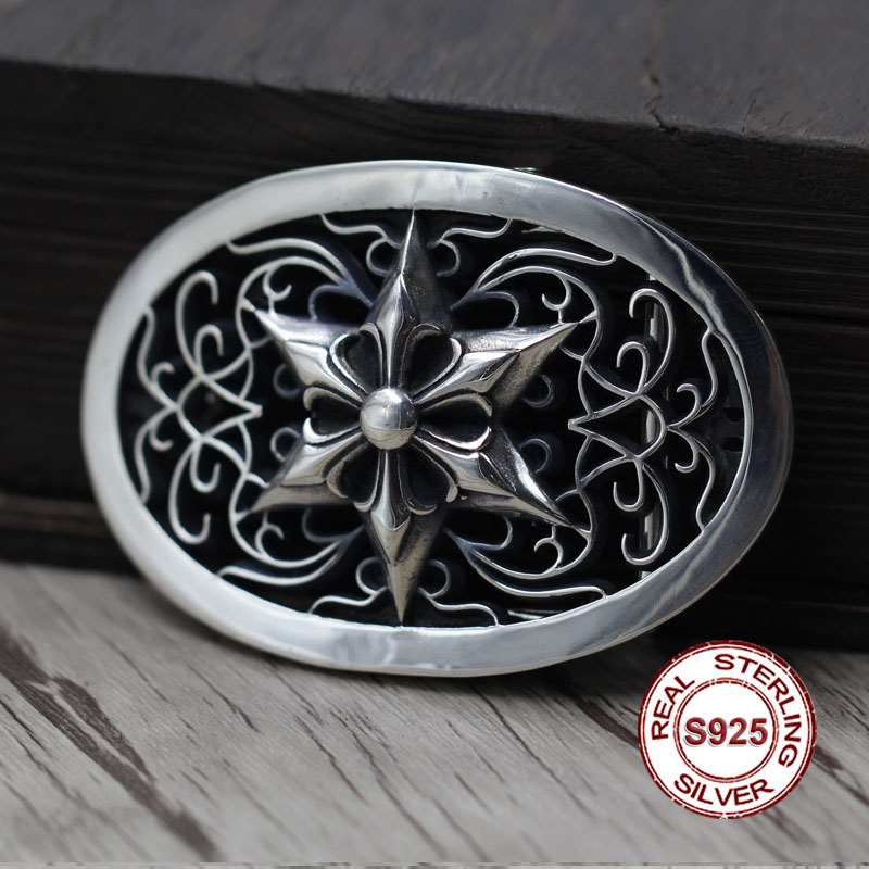 S925 sterling silver belt buckle Retro personality hip-hop hexagram unique belt buckle Thai silver to create punk style Send retro style pin buckle wide belt for women