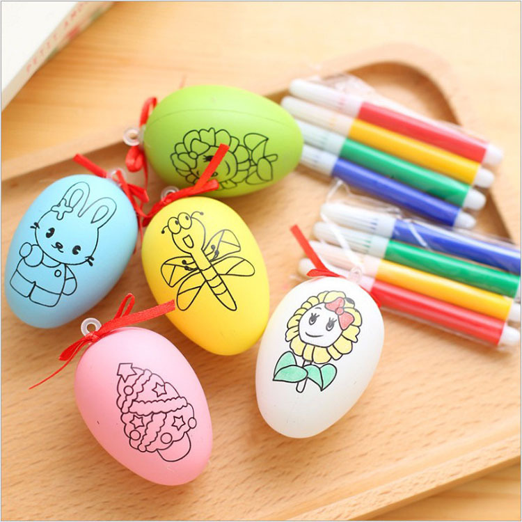Children Painting Egg Toy With Rope Gifts Plastic Hanging Easter Arts Crafts DIY Toys Fun Funny Gadgets Kid Birthday Gi