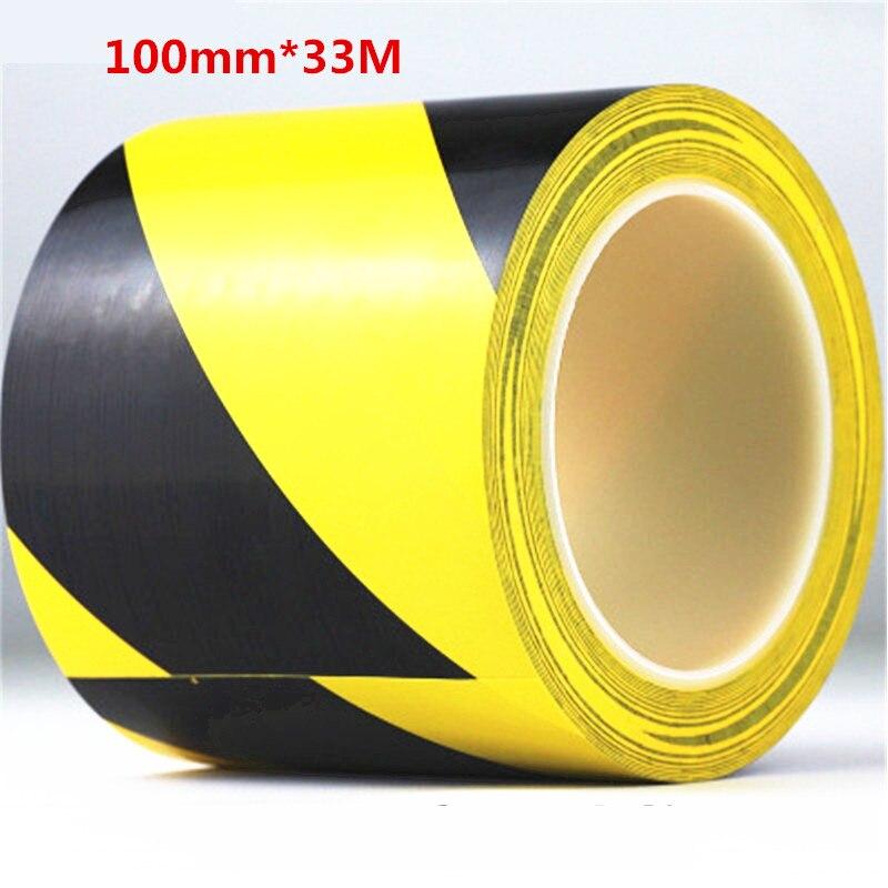 100mm*33M PVC waterproof floor warning tape zebra tape logo tape Yellow Black Color tape for Highway traffic multi color 1 roll 20m marking tape 100mm adhesive tape warning marker pvc tape