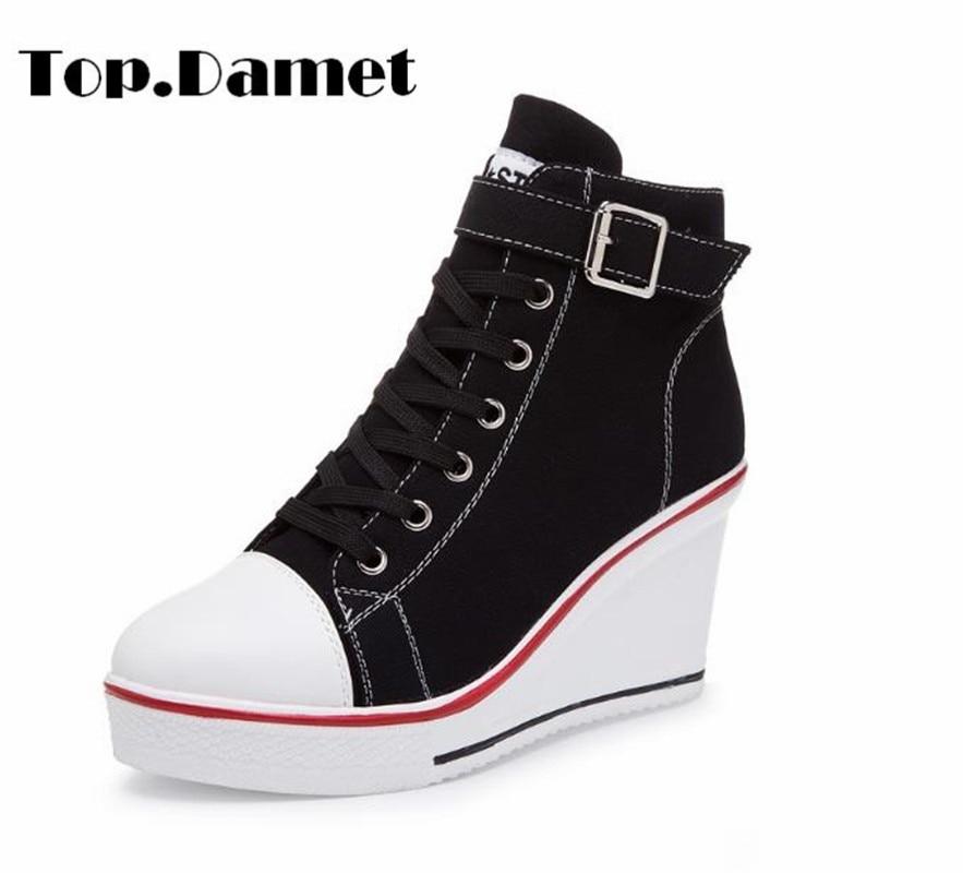 Top.Damet Women Fashion Canvas Wedges Platform Sneakers Heels Sports Shoes Lace Up Solid Color Casual Shoe Plus Size
