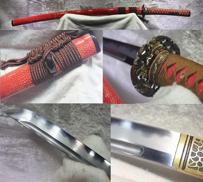 TOP QUALITY 1095 CARBON STEEL FOLDED STEEL IRON CLAY TEMPERED ABRASIVE JAPANESE SAMURAI font b SWORD