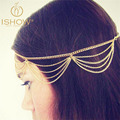 I SHOW  New Beach Multi Layer Metal Gold Plated Head Chain Hair Jewelry Tassel Pearl Leaves Bindi hair accesories Boho Headband
