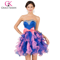 Free Shipping Lovely Sweetheart Organza Grace Karin Short Prom Dresses Beautiful Gift Evening Dress Party Vestido