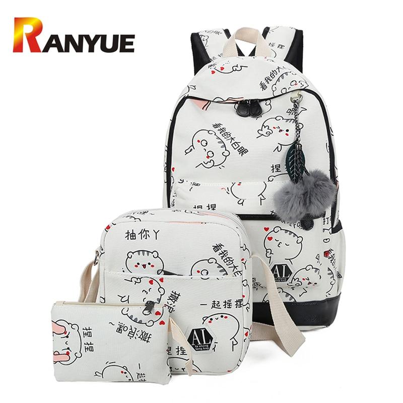 3Set/Pcs Women Backpacks School bag For Teenage Girls Cute Cat Printting Backpack Big Capacity Canvas Backpack Laptop Travel Bag