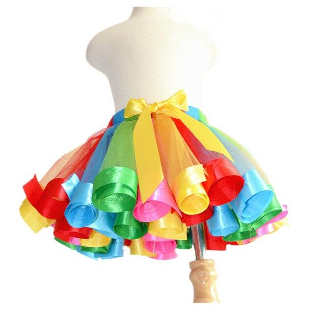 Rainbow Girls Tutu Skirt Baby Tutus Kids Tulle Skirt Ribbons Princess Dance Pettiskirt Party Wedding Girls Skirts 1-10Y