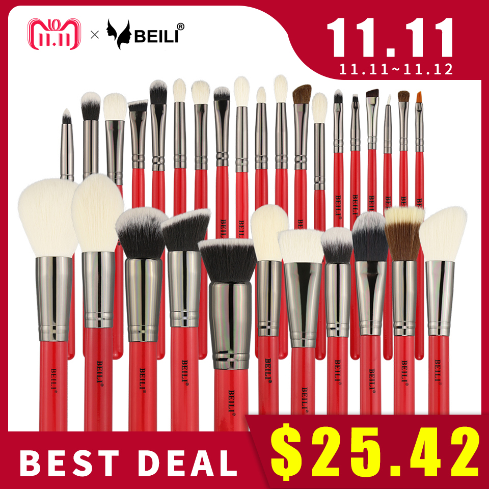 BEILI 30pcs Professional Makeup Brushes Set Natural Hair Powder Foundation Blusher Eyeshadow Eyebrow Eyeliner Makeup Brush Tools rancai 12pcs makeup brushes set powder foundation blusher lip eyeliner eyelash eyeshadow eyebrow brush