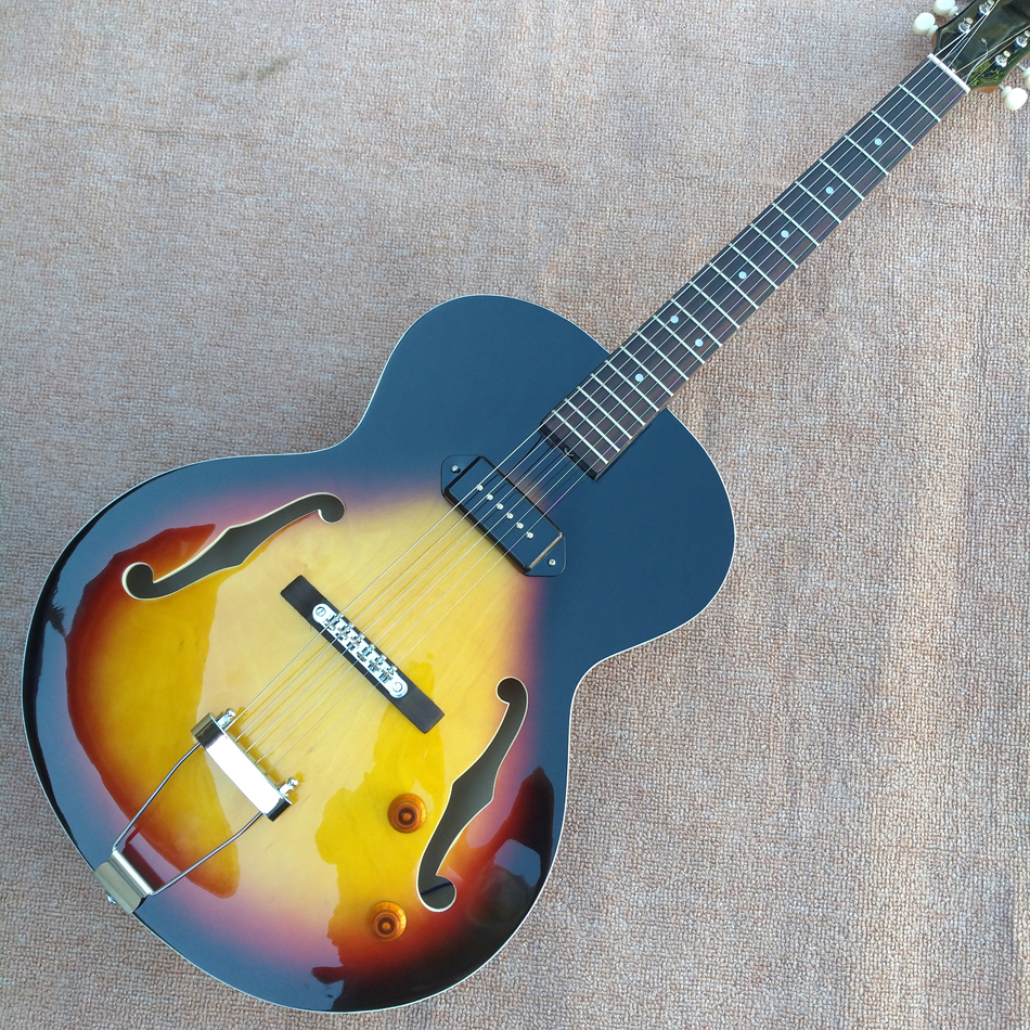 New style high quality custom L-5 Jazz electric guitar, one piece of P90 pickup hollow body jazz electric guitar, free shipping brand new semi hollow body jazz electric guitar with double f hole p90 pickup and single cutway