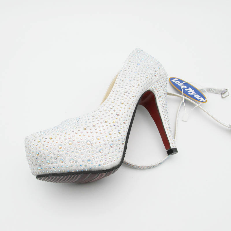 c1ed4f882782 2017 women high heels prom wedding shoes lady crystal platforms silver  Glitter rhinestone bridal shoes thin heel party pump 118-in Women's Pumps  from Shoes ...
