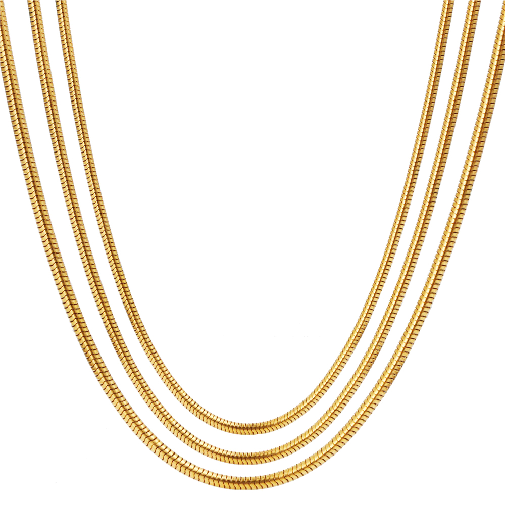 купить RINYIN Fine Jewelry Pure 18K Yellow Gold Necklace Solid Snake Chain for Women Engraved Au750 16