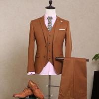 Vestito da uomo blazer affari tailleur pantalone formale per matrimoni sposo orange rosso monopetto di lana materiale costume