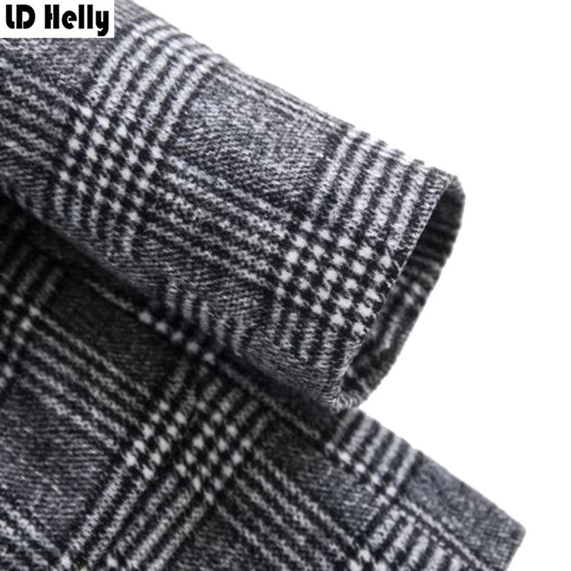 LD Helly Vintage Women Plaid Blazers Jacket Fashion Pocket Fur Patchwork Office Female Long Sleeve Casual Brand Coat Tops