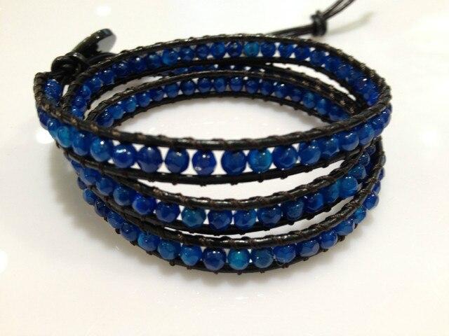 Grey Blue 3Wraps Agate Bracelets Semi-precious Stone Bracelets Trending Fashion Jewelry Free Shipping