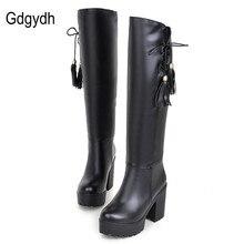 Gdgydh Hot Sell Autumn Winter High-leg Boots Female Thick Heel Platform Women Knee High Tassel Boots Black White Plus Size 34-43