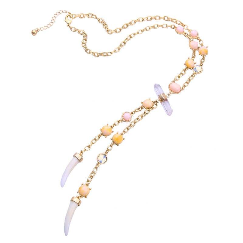 Vàng Màu Sắc Nhiều Màu Sắc Vòng Cổ Nữ Thời Trang Nhựa Bohemian Vòng Cổ Đá Tự Nhiên Còi Nhựa Mặt Dây Chuyền Trang Sức Quà Tặng