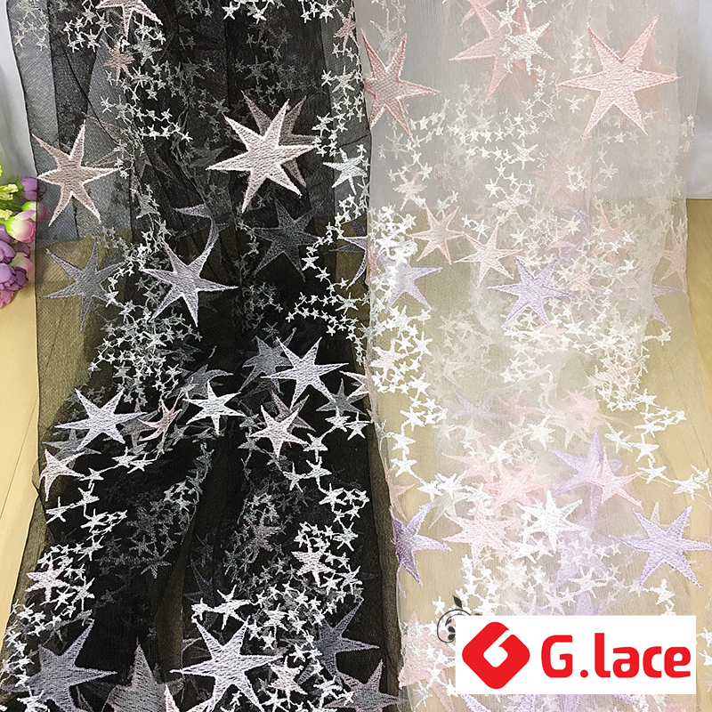 GLace 3Y/Lot Star pattern Embroidered lace fabric mesh fabric DIYdress children's clothing veil handmade cloth accessoriesTX118