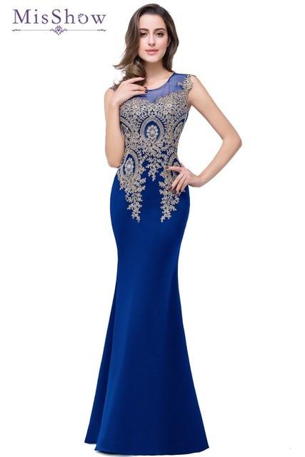 0423c4cf1 Robe de Soiree Longue Sexy 2018 Elegant Satin Evening Gown Transparent  Royal Blue Sleeveless Mermaid Lace Long Evening Dress