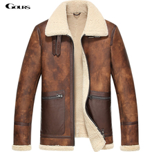 Gours Winter Men's Genuine Leather Jackets Sheepskin Pilot Jacket and Coats Warm Double-faced Fur Flight Suit 2016 New Plus Size