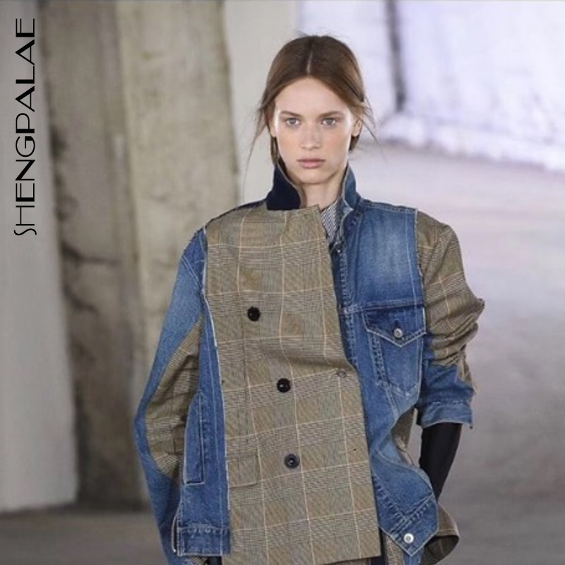 SHENGPALAE 2019 Lapel Long Sleeve Blue Denim Plaid Split Joint Irregular Loose Jacket Spring Summer Women