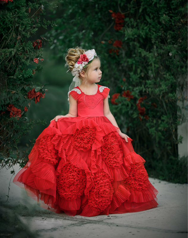 Red Flower Girl Dresses Purple Real Party Prom Dresses Little Ball Gowns Girls for Wedding Ankle-Length Mother Daughter Dresses real picture little flower girls dresses