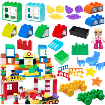 Diy Accessories Creative Scene Friut Food Car Story Building blocks bricks compatible with duploed Christmas Gifts toys for kids image