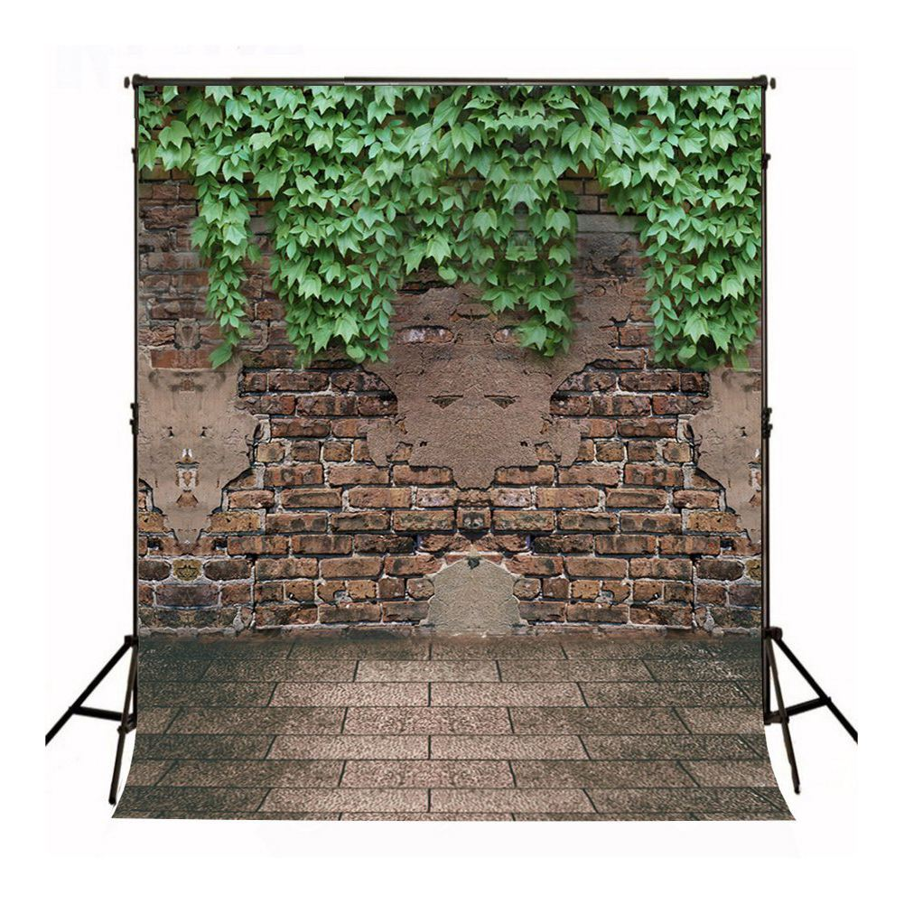 5x7 ft Brick Wall Photo Backgrounds Brick Floor & Green Leaves Wrinkle free Photography Backdrops for Newborn 200cm 150cm backgrounds brick floor booth walls photography backdrops photo lk 1581