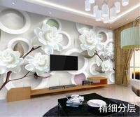 Custom 3D Murals Simple Modern White Peony Papel De Parede Hotel Restaurant Living Room Sofa TV
