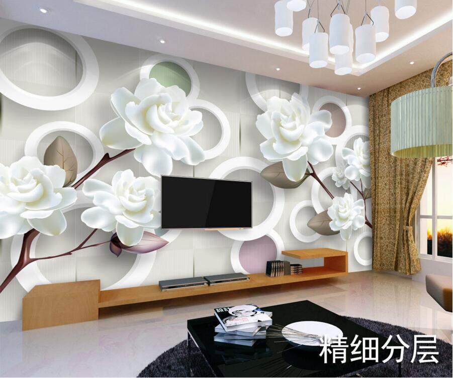 Custom 3D Murals,Simple Modern White Peony Papel De Parede,hotel Restaurant Living Room Sofa TV