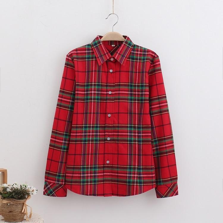 2018 Fashion Plaid Shirt Female College Style Women's Blouses Long Sleeve Flannel Shirt Plus Size Casual Blouses Shirts M-5XL 21