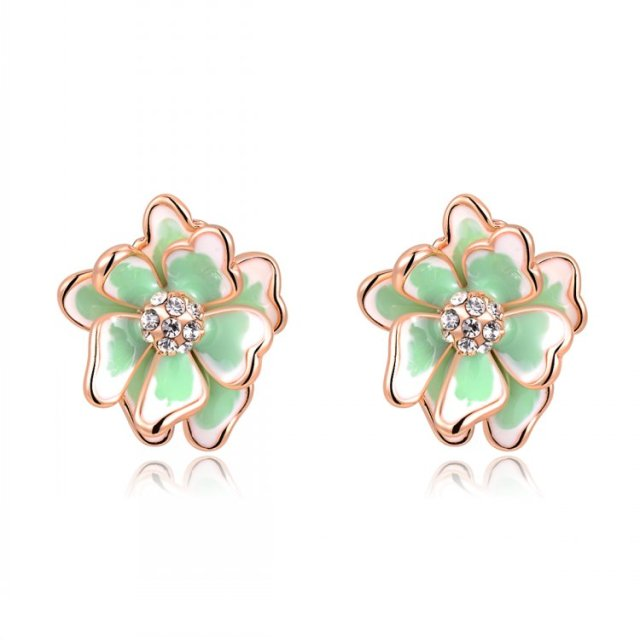 Famous Luxury Brand Designers Jewelry Small Camellia Flowers Earring Fashion Gold Color 2017 Women Green Sholl