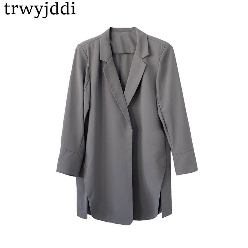 Korean Jacket Women Summer Blazer Chiffon Cardigan Seven sleeves No Buckle Suit Coat Casual Loose Mujer Work Wear Tops hl469