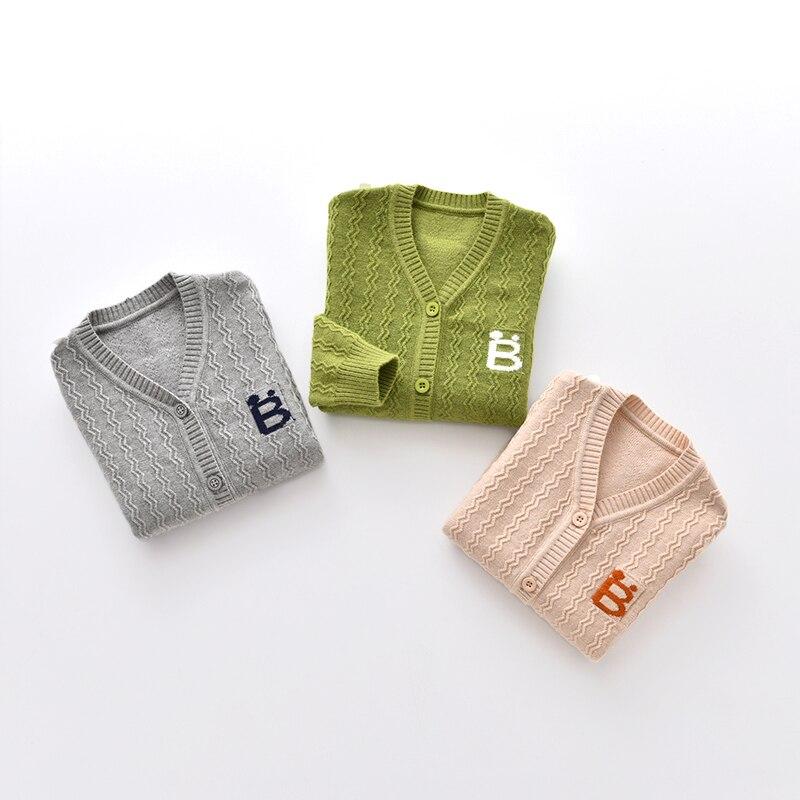 Nuevo algodón bebé suéter botón de manga larga suéteres de - Ropa de bebé