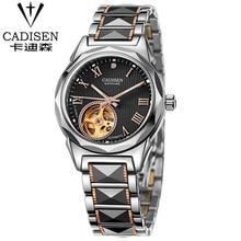 CADISEN Top Brand Luxury Watch Women 2016 Stainless Steel Women Mechanical Watches Tungsten steel Dial Montre Femme