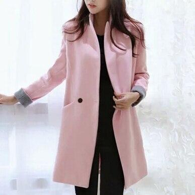 Dames Outwear Manteau Rose Mode Slim Chaud Hiver Femmes Européen pink De Pardessus Veste Longue Style Thicken Mélangée Laine XSwS6vq